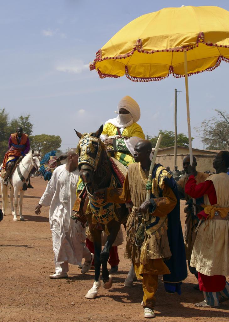 Africa, Cameroon, Ngaoundere, El Kebir sacrifice feast, the King Mohamadou Hayatou Issa : Stock Photo