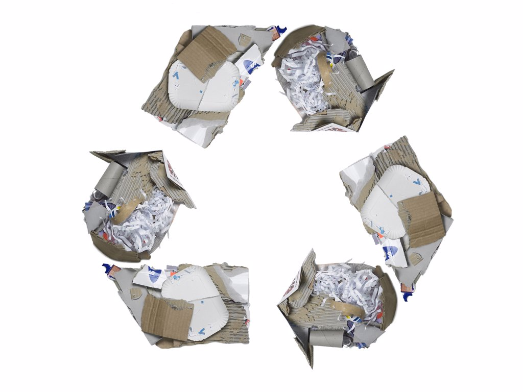 Recycling symbol made carton : Stock Photo
