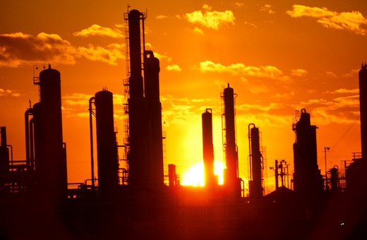 Oil / Gas Refinery at sunset : Stock Photo
