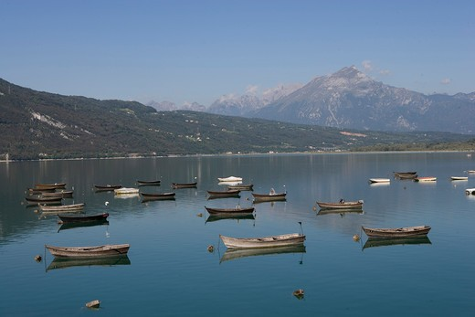 Italy, Veneto, Santa Croce Lake, Boat : Stock Photo