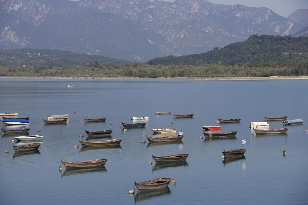 Italy, Veneto, Santa Croce Lake, Boat : Stock Photo