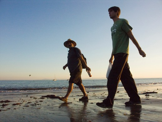 Stock Photo: 4292-99716 USA, California, Santa Barbara men walking on beach