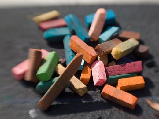 Stock Photo: 4292-99926 Pastel chalks for sidewalk drawing in Santa Barbara, California