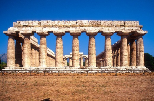 Italy, Campania, Paestum, the Hera Temple : Stock Photo