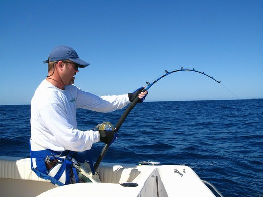 Stock Photo: 4292R-151197 Man deep sea fishing near Puerto Vallarta, Mexico