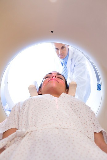 Patient inside CT scanner : Stock Photo