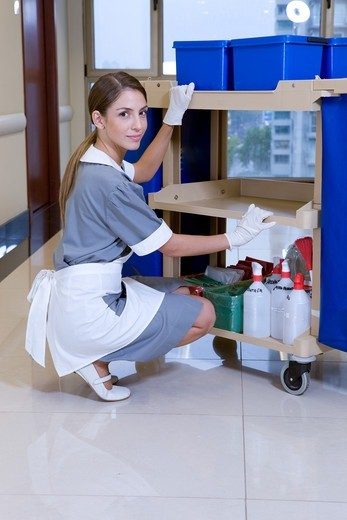 Stock Photo: 4294R-1523 Hospital cleaner at work