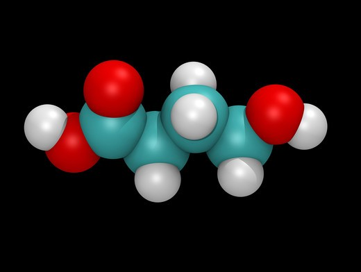 Stock Photo: 4297-1297 Computer generated three-dimensional model of Gamma-hydroxybutyric acid (GHB)