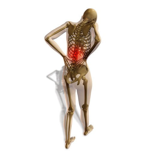 Stock Photo: 4297-1536 Illustration showing a person suffering from back pain