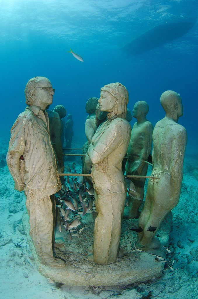 Stock Photo: 4299-1413 Mexico, Cancun, Sculptures at bottom of sea in Cancun Underwater Museum in Caribbean Sea