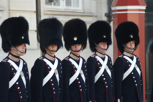 Stock Photo: 43-5445592 Changing of the Guard ceremony, Copenhagen, Denmark