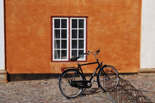 Bicycle parked at a cycle stand, Helsingor, Denmark : Stock Photo
