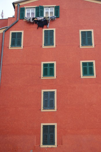 Stock Photo: 43-5445605 Low angle view of an apartment, Camogli, Liguria, Italy