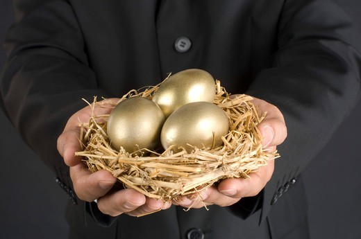 Stock Photo: 4303R-1422 Businessman holding nest with golden egg, midsection