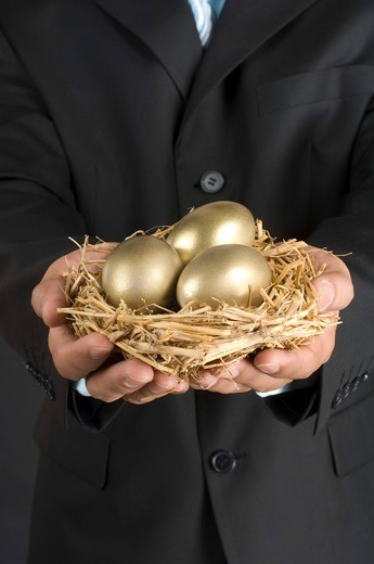 Stock Photo: 4303R-1423 Businessman holding nest with golden egg, midsection