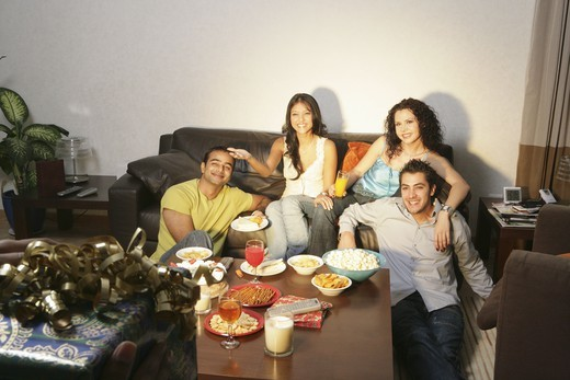 Stock Photo: 4304R-2455 Young people socializing at home.