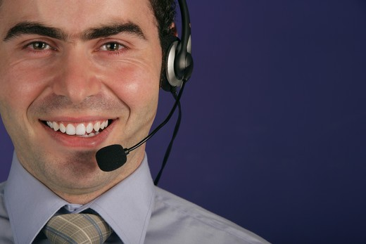 Businessman with headset. : Stock Photo