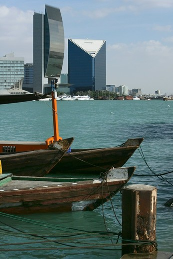 Stock Photo: 4304R-2805 Buildings seen from the dock - Dubai Creek