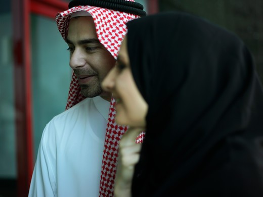 Stock Photo: 4304R-3263 Arab couple on a conversation