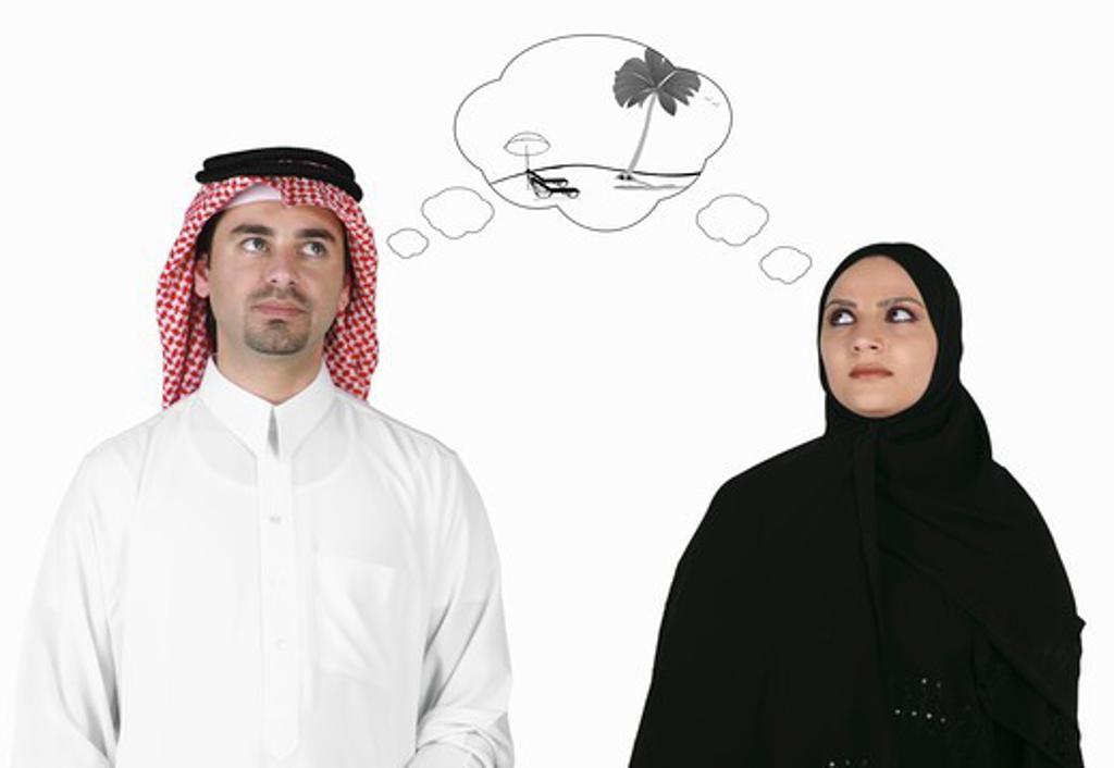 Arab couple dreams holiday travel : Stock Photo