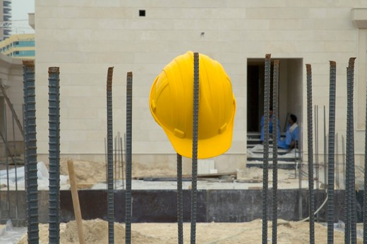 Helmet seen at the construction site : Stock Photo