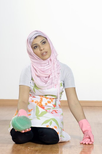 Lady Cleaning Floor : Stock Photo