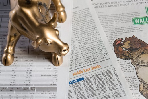 Stock Photo: 4304R-7029 Bull figurine and bear on newspaper, close-up
