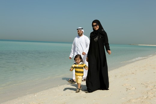 Stock Photo: 4304R-7217 Arab family walking at the beach