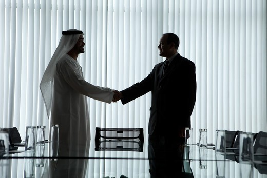Stock Photo: 4305R-1011 Silhouette of two businessmen shaking hands in a conference room.