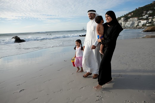 Stock Photo: 4305R-1997 Arab family walking by the beach.