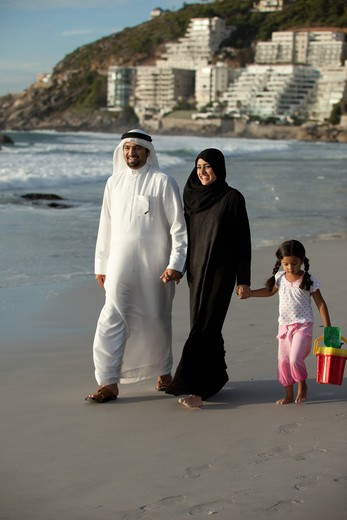 Stock Photo: 4305R-2014 Arab family walking by the beach.