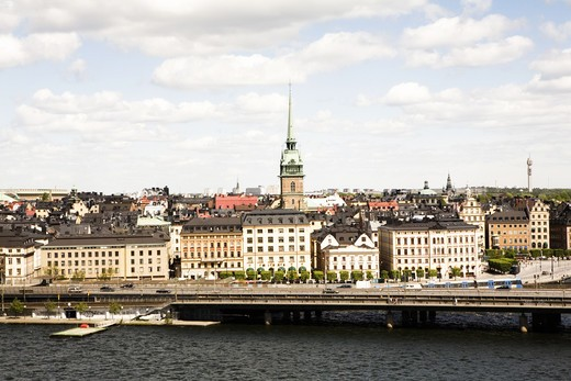 Stock Photo: 4306R-10685 View over old town in Stockholm.