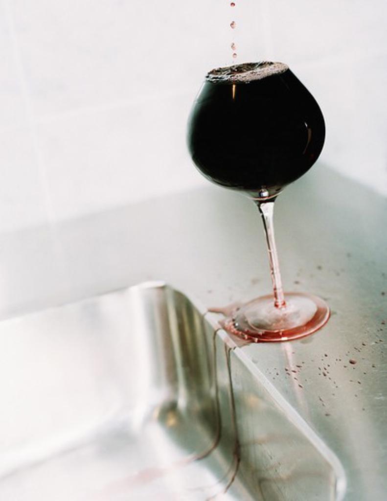Stock Photo: 4306R-11043 A brimful wineglass, Sweden.