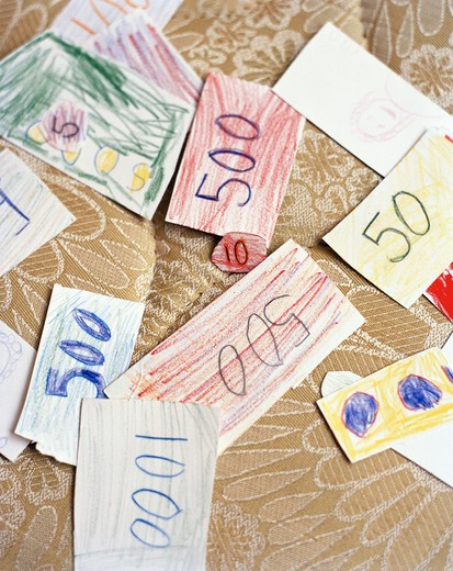 Make-believe money, close-up. : Stock Photo