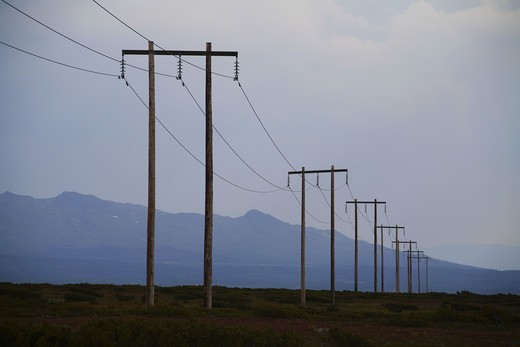 Stock Photo: 4306R-11411 Power transmission line, Jamtland, Sweden.