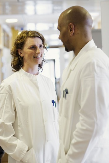 Stock Photo: 4306R-12109 A man and a woman, doctors, in a hospital, Sweden.