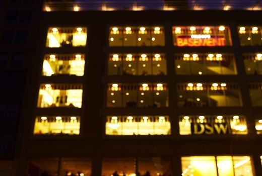 Stock Photo: 4306R-12429 A building in the night, New York.