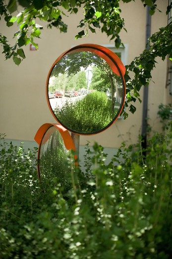 Stock Photo: 4306R-13002 Two mirrors on a drive way, Sweden.