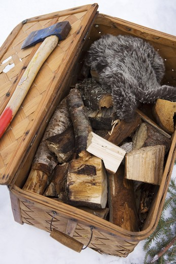 Stock Photo: 4306R-13485 An axe and woods, Sweden.
