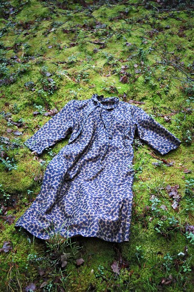 A dress thrown on green moss, Sweden. : Stock Photo