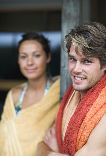 Stock Photo: 4306R-14328 Two people with towels, Sweden.