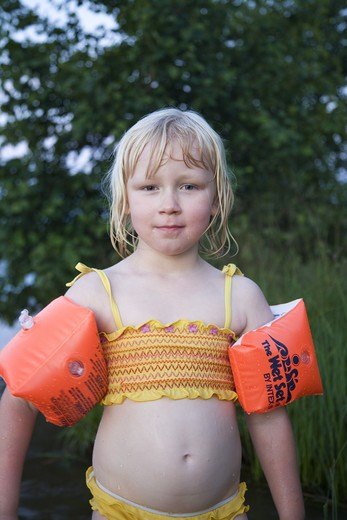 Stock Photo: 4306R-14470 A girl in a bikini, Varmland, Sweden.