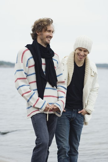Stock Photo: 4306R-14956 Two men by the sea, Sweden.