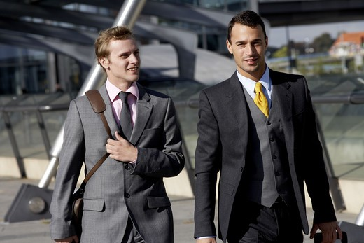 Two businessmen on the airport, Denmark. : Stock Photo
