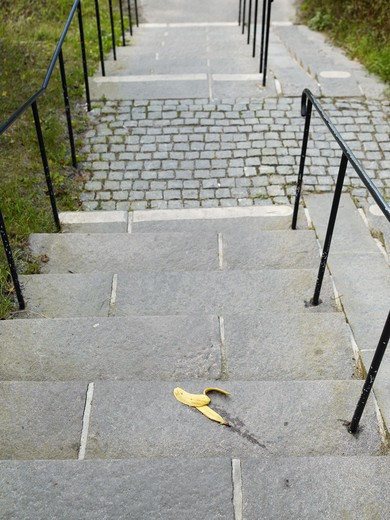 Stock Photo: 4306R-15230 Banana skin on steps, Sweden.