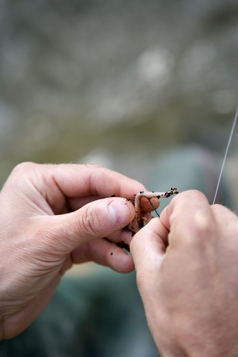 A man with an entangeled  fishing-line, close-up. : Stock Photo