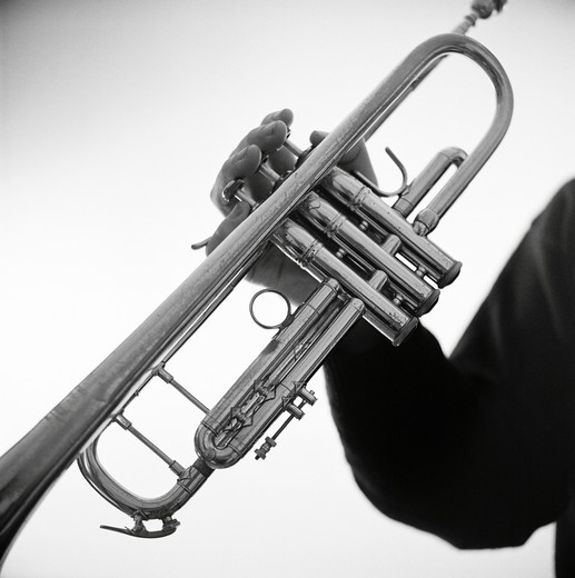 Stock Photo: 4306R-16704 A man holding a trumpet, Sweden.