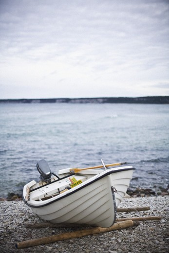 A rowboat on shore, Gotland, Sweden. : Stock Photo