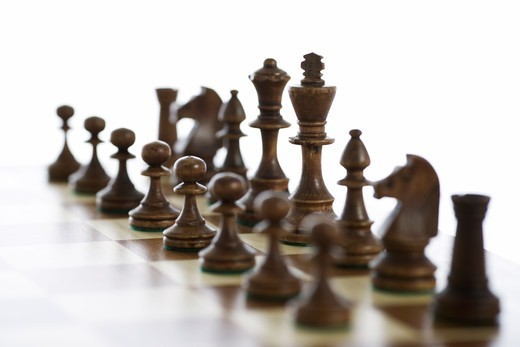 Stock Photo: 4306R-17444 Chessboard and chessmen.