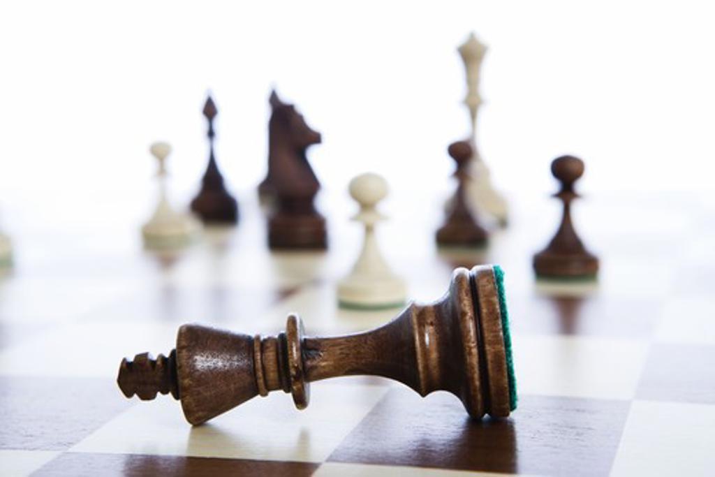 Chessmen on a chessboard, Sweden. : Stock Photo